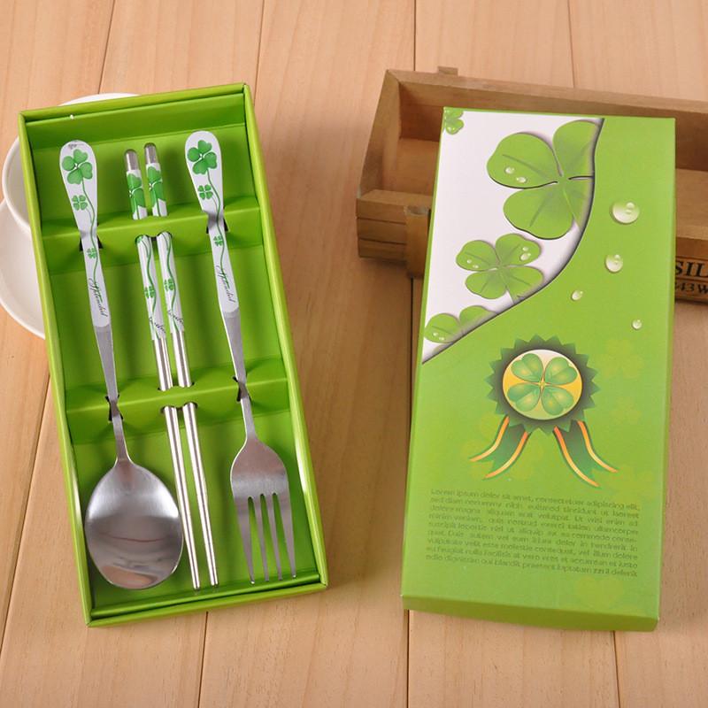 吟秀 结婚回礼小礼品 实用小礼物不锈钢餐具套装 四叶草叉勺筷图片