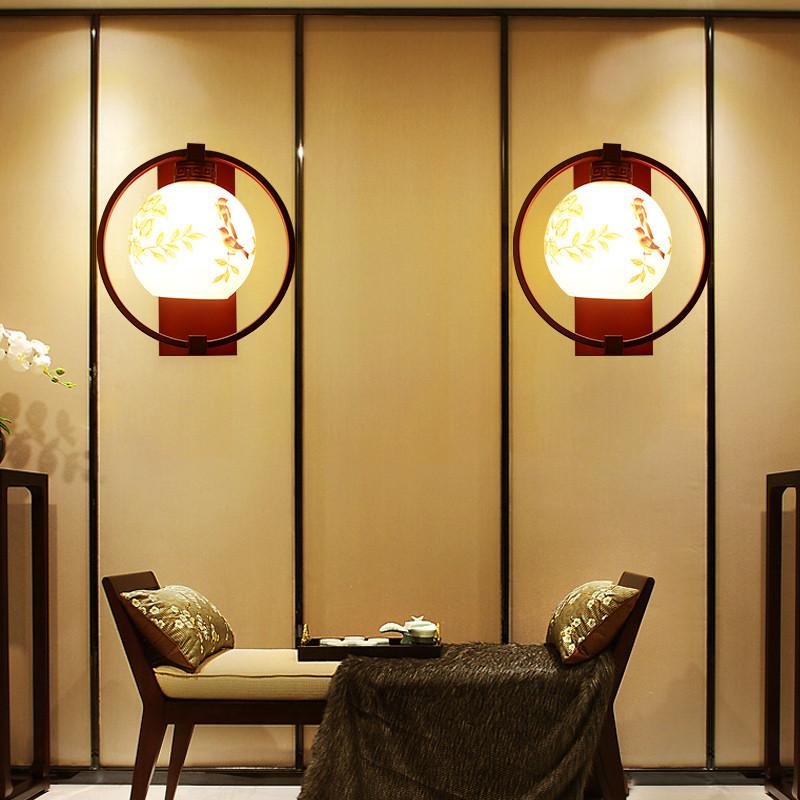 海斯锐 壁灯床头灯客厅过道卧室灯新中式新古典红木色