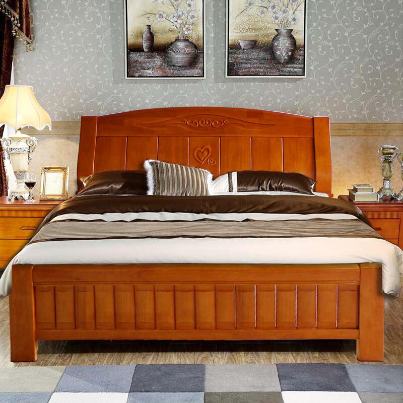 实木中式 双人床木床1.8 米橡胶木清仓特价促销床现代