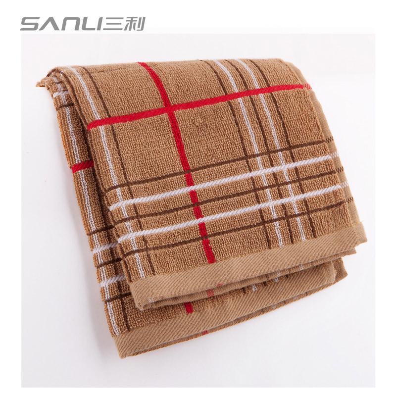 三利 毛巾家纺 色织方格毛巾两条装 35x78cm 蓝色、棕色