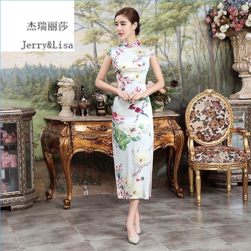 杰瑞丽莎2016春夏新款中国风真丝连衣裙 桑蚕