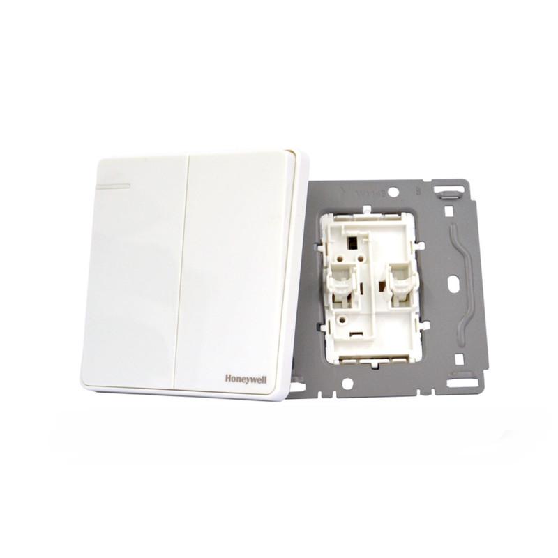 霍尼韦尔开关插座面板优雅系列白色双开单控开关86型双联单控开关带