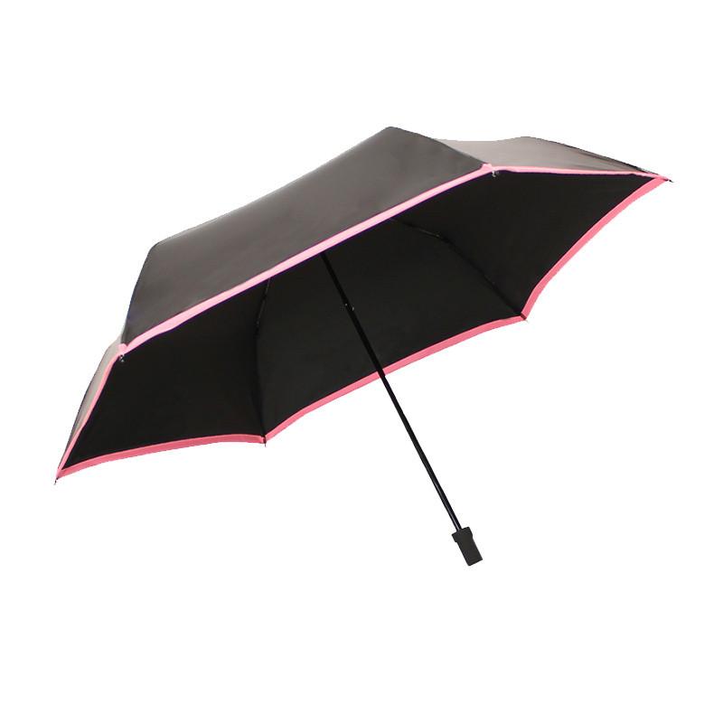 天堂伞(防晒UPF50+)碳纤黑丝靓胶色织三折铅笔晴雨伞遮阳伞 31016ELCJ 格子边