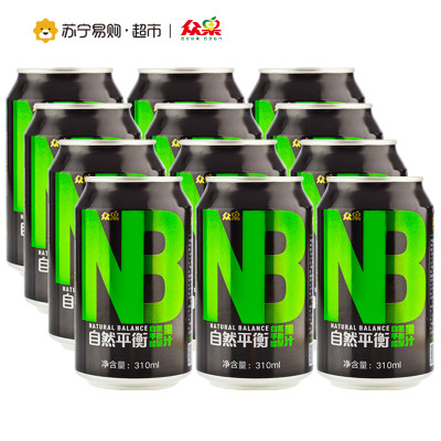【苏宁超市】众果100%纯果汁 NB能量果汁 能量罐 310mlx12罐 箱装 果汁饮料