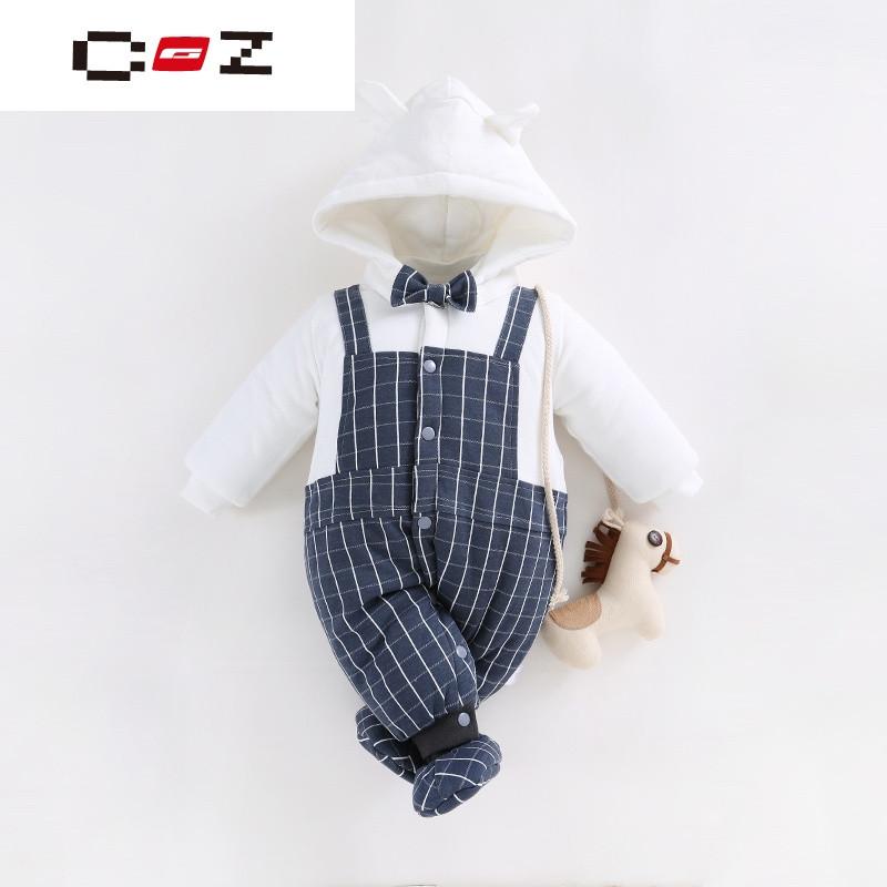 CZ潮流品牌婴儿连帽衣服冬季新生儿长袖哈衣