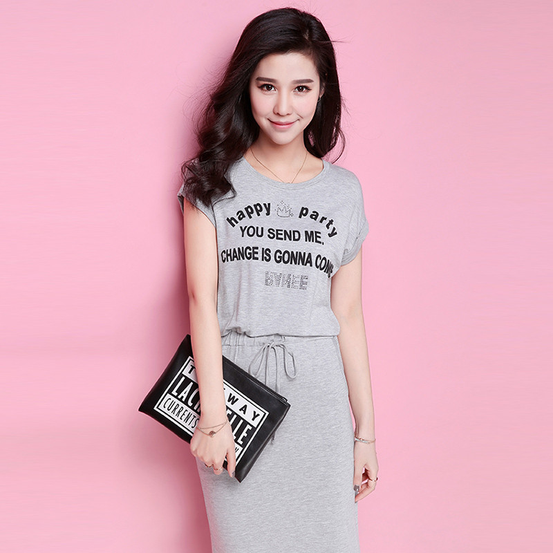 拉夏貝爾夏新款 字母膠印圖案修身短袖連衣裙10007865圖片