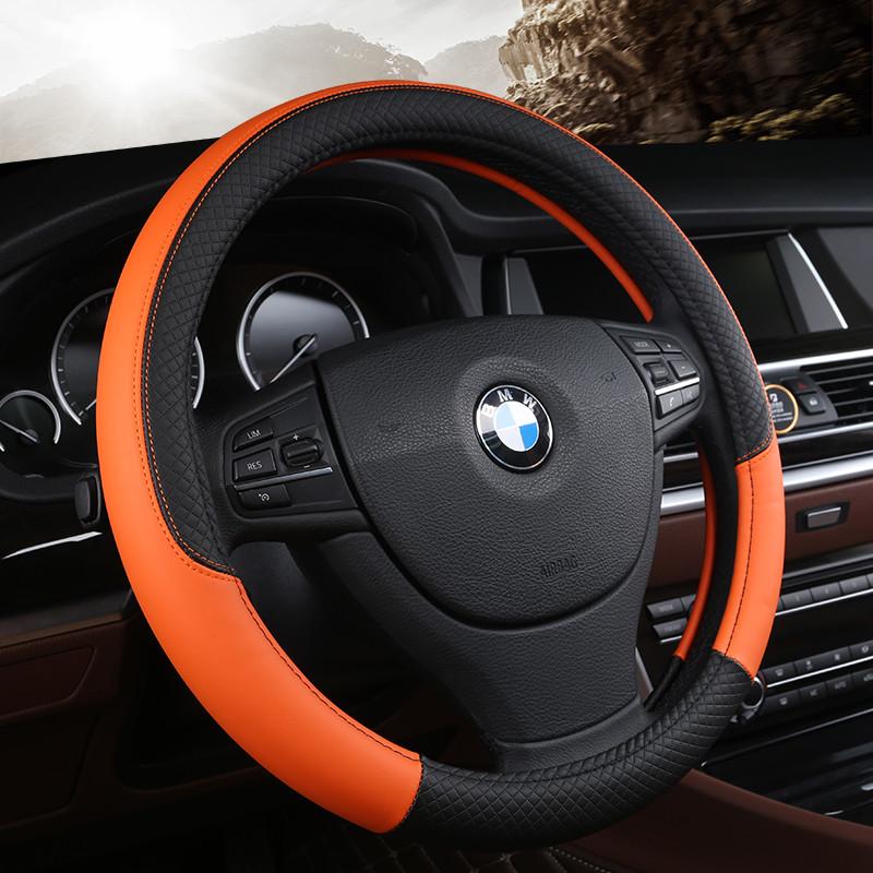 汽车方向盘套皮把套四季通用适用于大众k2福克斯宝来奥迪h6 压花皮黑