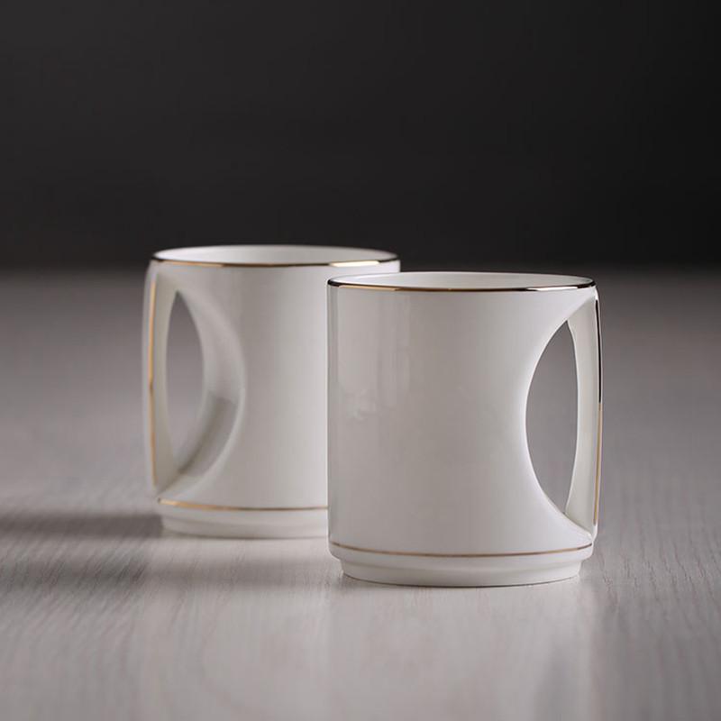 杯子陶瓷创意可爱个性 水杯茶杯咖啡杯情人礼品 心形情侣对杯 纯白一