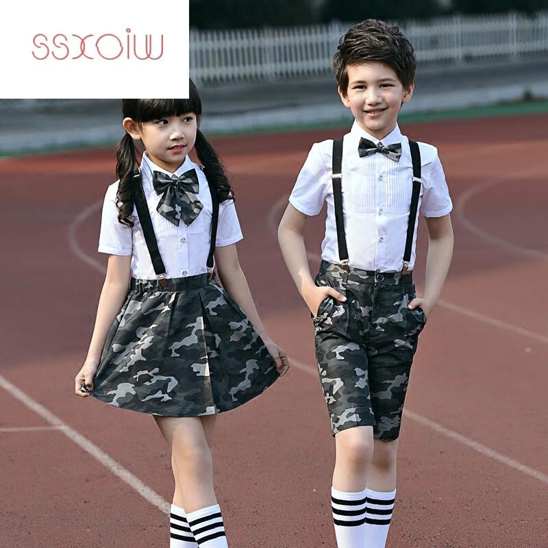 演出服装男童女童背带裤 170cm 女款(迷彩短裙 白衬衫 背带 迷彩领花)