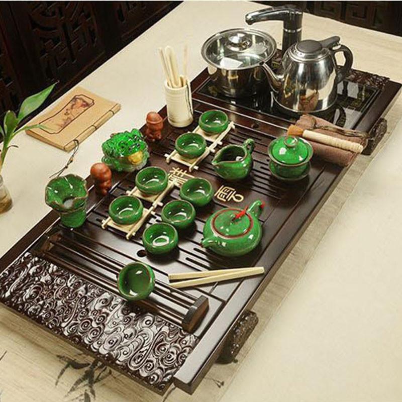 紫砂功夫茶具套装整套家用陶瓷茶杯电热磁炉茶台茶道茶盘 20祥云汝窑图片