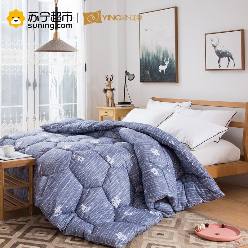 迎馨 床品家纺羽丝绒 印花保暖冬被 爱丽丝 蓝 150*210cm