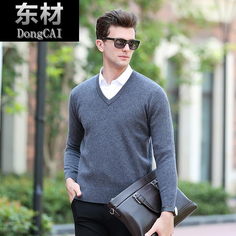 牌季新品加厚毛衣男装韩版修身领针织衫青年上衣潮长袖_1 165 xf酒红