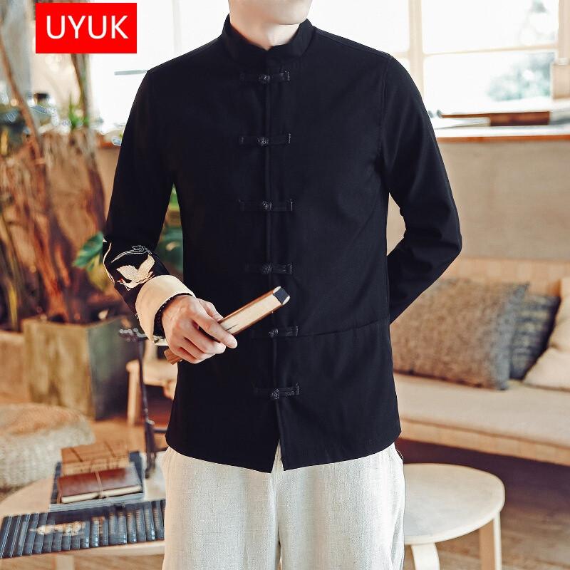 uyuk2017新款加肥外套男秋季中国风仙鹤刺绣夹克男士复古盘口立领唐装