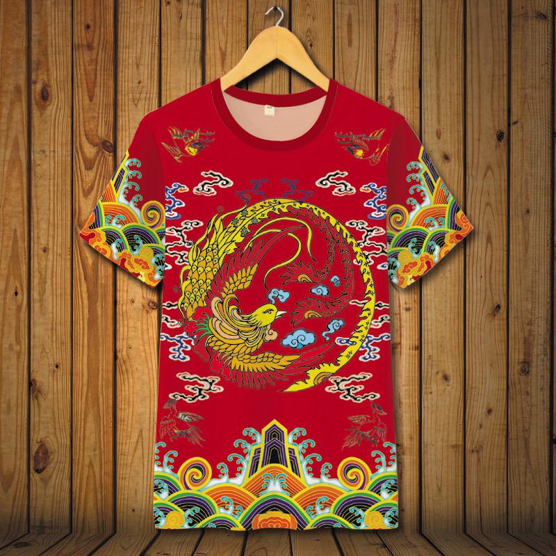 中国风清朝官服皇帝服装龙袍衣服古装男士夏装印花短袖t恤大码 165/s