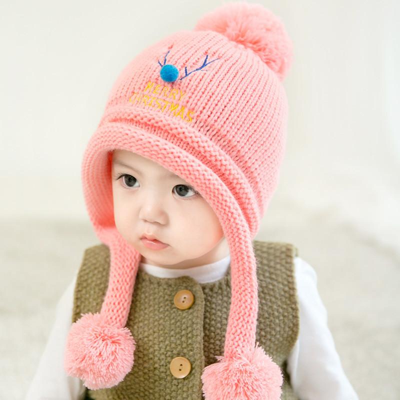 韩版宝宝帽子秋冬加绒婴儿帽子可爱圣诞小麋鹿男童女童毛线套头帽