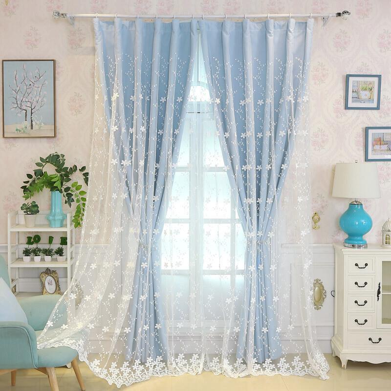 韩式田园蕾丝全遮光双层窗帘绣花客厅飘窗卧室公主风成品定制窗帘f_2
