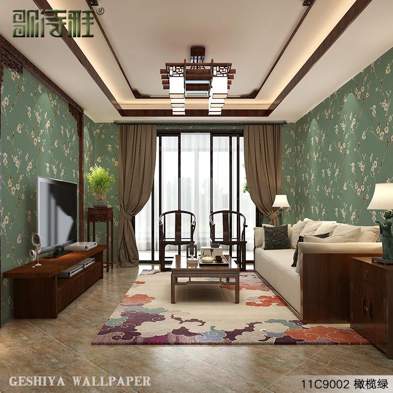 歌诗雅现代中式梅花艺术墙纸厨房客厅卧室玄关沙发电视背景墙壁纸 11c图片
