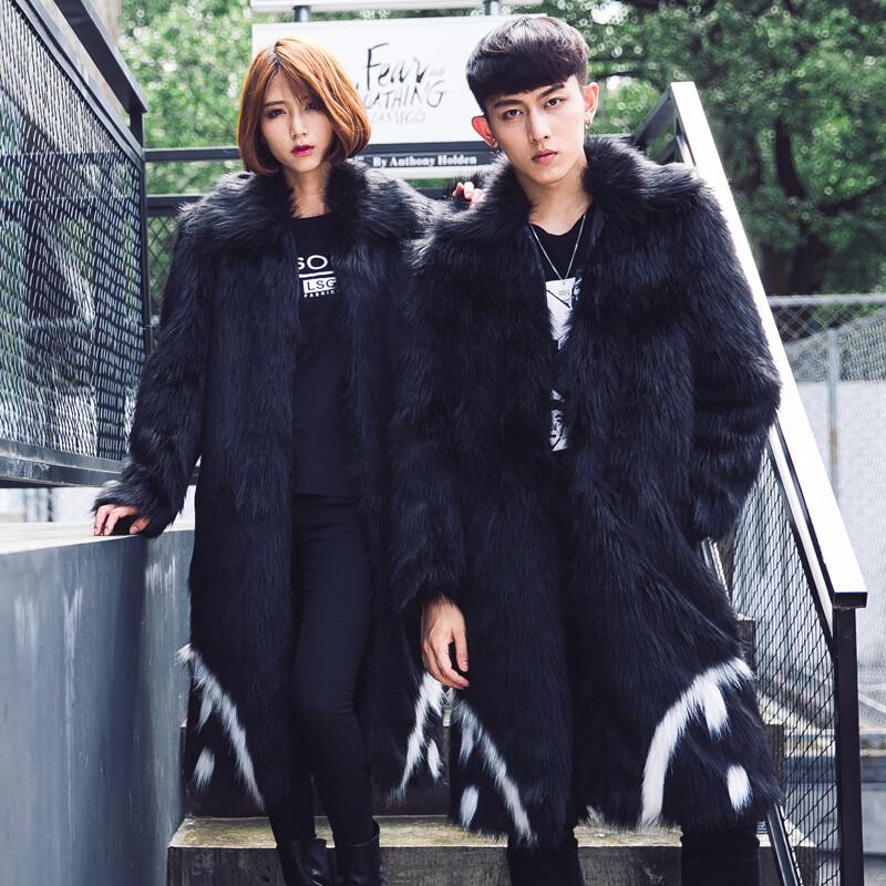 argd权志龙同款2017冬季新款情侣装男女同款仿皮皮草大衣男士长款熊猫