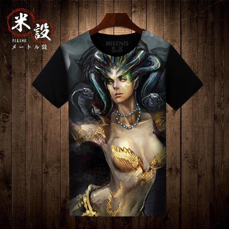 古希腊神话石化女妖美杜莎娜迦t恤男短袖t恤个性潮男