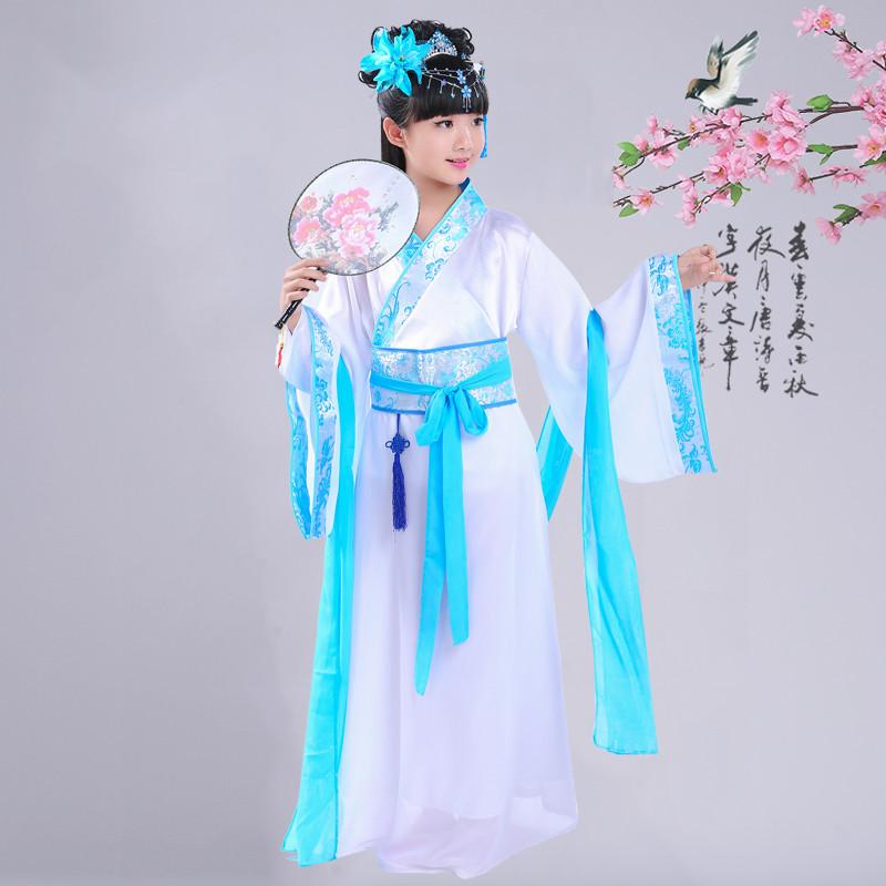 儿童古装仙女服装女童女孩长袖公主古代仙女演出服装汉服 170cm