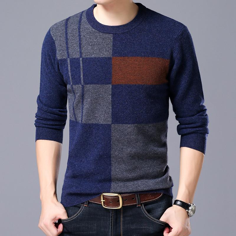 欧利郎帝冬款纯羊毛衫男士保暖圆领套头羊绒衫男式针织衫休闲潮流男装