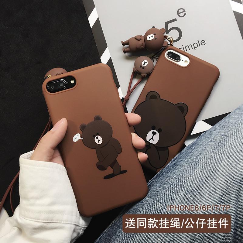 可爱卡通苹果6splus手机壳iphone67plus软硅胶布朗熊少女款挂绳907 6p图片