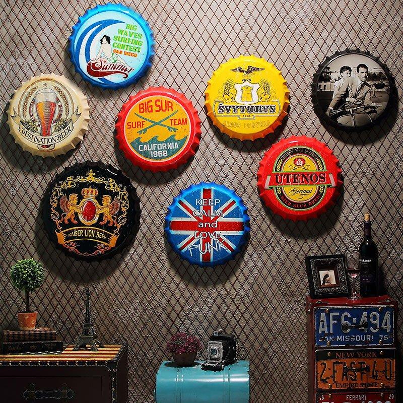 复古啤酒瓶盖创意立体墙饰墙面创意酒吧装饰咖啡厅挂件壁饰铁皮画a pd图片