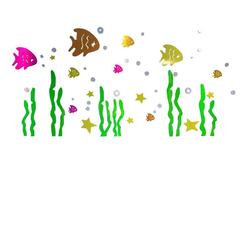 海底世界亚克力墙贴儿童房装饰卫生间浴室3d立体贴纸防水厕所贴画_2