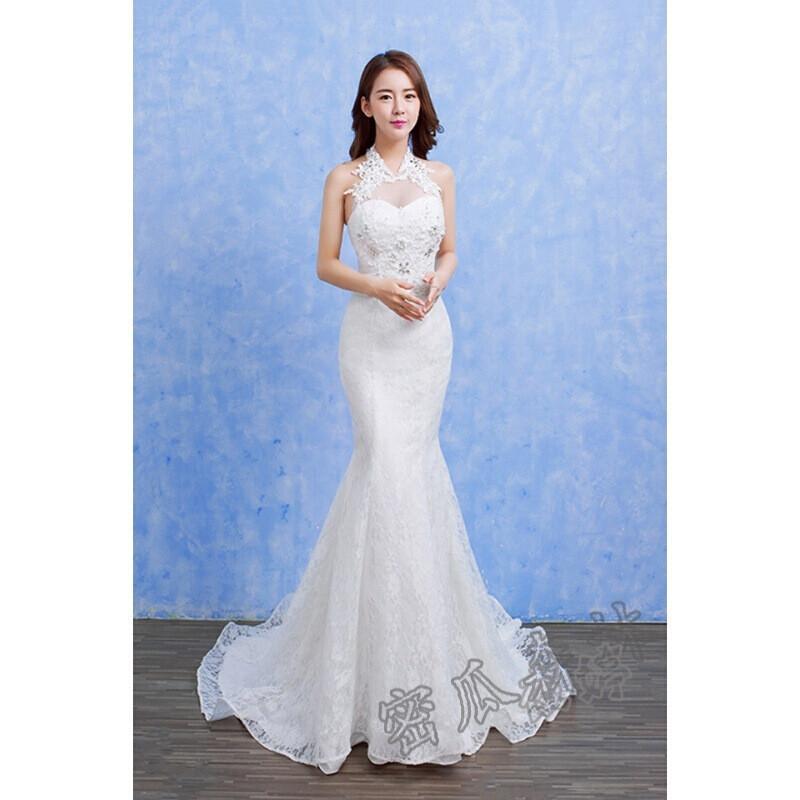 婚纱礼服2017新款时尚蕾丝绑带修身鱼尾裙新娘婚礼服l5 s 白色