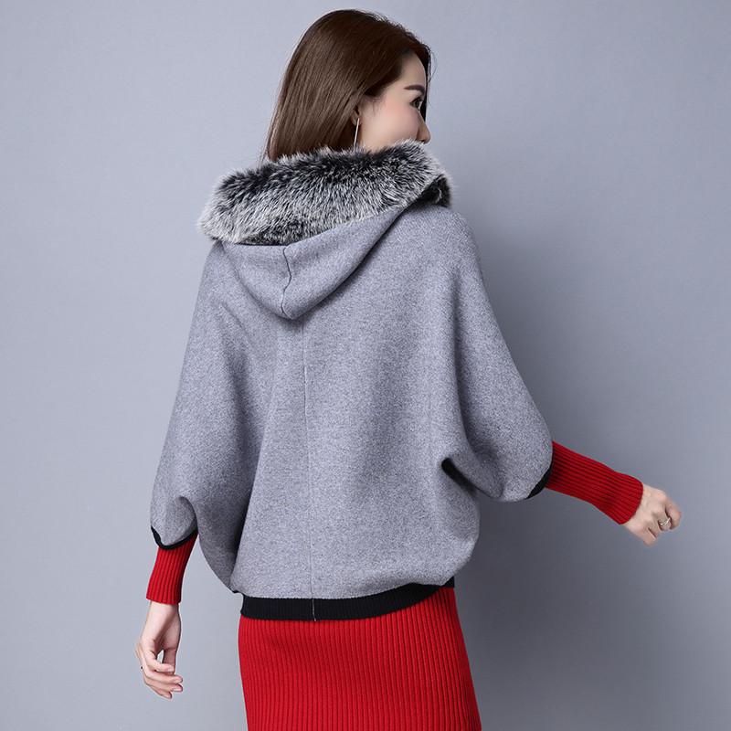 822款秋冬季韩版高端羊绒大衣连帽短款狐狸毛领蝙蝠衫图片