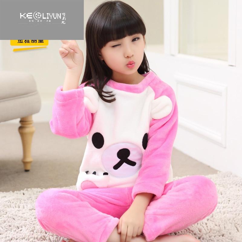 秋冬季女童可爱卡通睡衣珊瑚绒加厚小女孩宝宝儿童公主家居服套装 160
