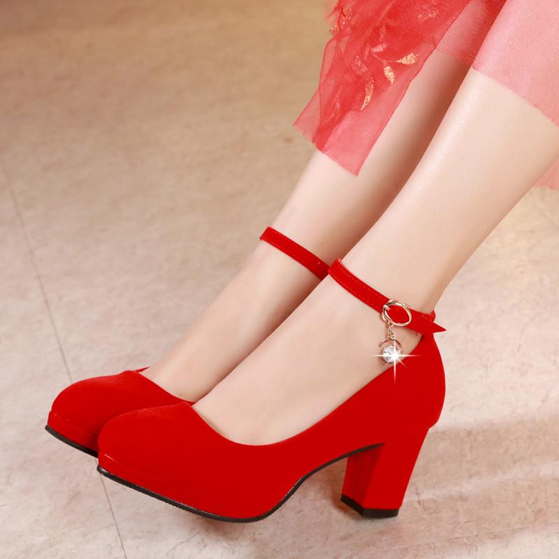 新娘鞋_新款结婚鞋子女夏新娘鞋红色婚鞋高跟防水台粗跟礼服鞋女中跟敬酒红鞋