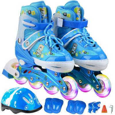 ENPEX 乐士溜冰鞋儿童全套装 儿童轮滑鞋 可调伸缩滑冰鞋男女直排轮 闪光 MS172
