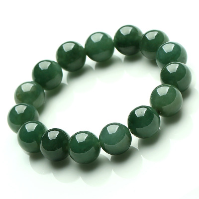 帛蘭梓韻 天然油青珠子翡翠手鏈 A貨緬甸玉石圓珠手鏈男女款玉器