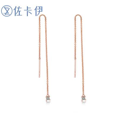 佐卡伊zocai 玫瑰18k耳飾 鉆石耳線時尚鉆石耳墜女款耳釘耳飾女正品首飾