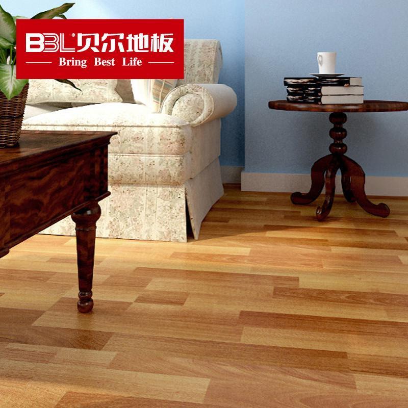 贝尔地板 强化复合地板 8mm 中浮雕 厂家直销 三拼胡桃木