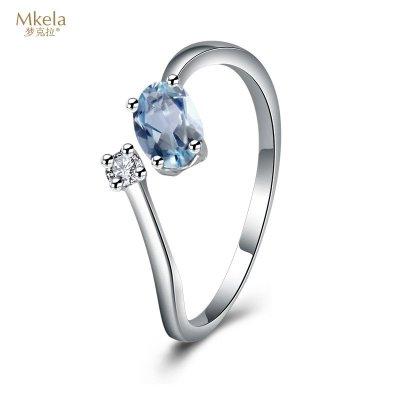夢克拉Mkela 18k金托帕石鉆石戒指 藍夢緣 橢圓形藍黃玉鉆戒 女士 寶石戒指