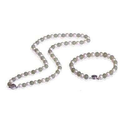 梦克拉 Mkela 925银和田玉珍珠套装项链手链 韵味 和田玉碧玉珍珠链 首饰套装 珍珠 送长辈 淡水珍珠 近圆