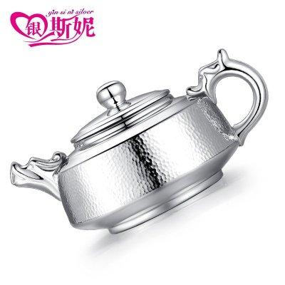 银斯妮 银茶壶 足银龙头功夫茶具 茶银器手工 约202克