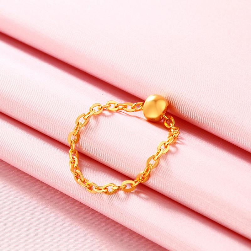 钻石快线 黄金戒指女 光珠转运珠戒指足金戒指女款 一