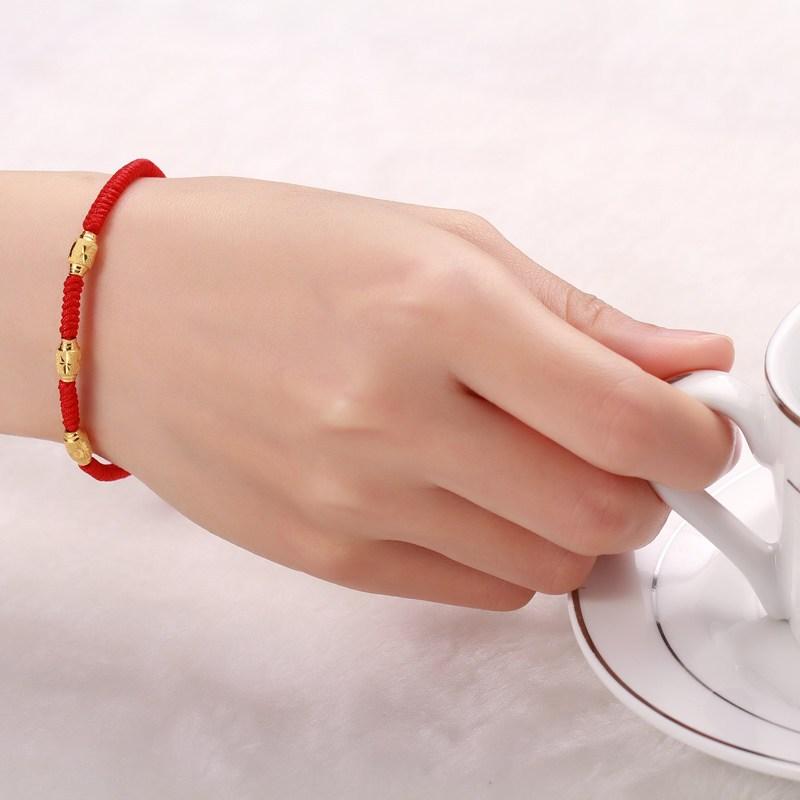 钻石快线 橄榄黄金转运珠戒指 黄金戒指红绳黄金手链