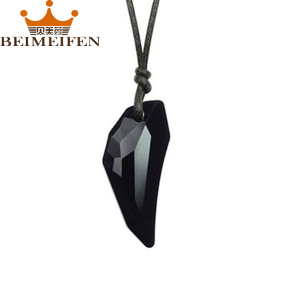 貝美芬奧地利水晶項鏈 男款男生吊墜 女士項鏈長款霸氣狼牙吊墜 合成水晶飾品