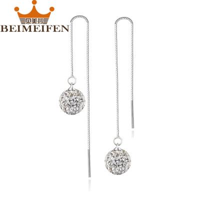 貝美芬 925純銀白雪公主女士耳環水晶耳墜耳線時尚耳飾新款