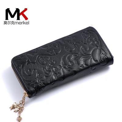 莫爾克(MERKEL)新款女式牛皮手包時尚印花拉鏈女式手抓包手機錢包休閑女皮夾包零錢包