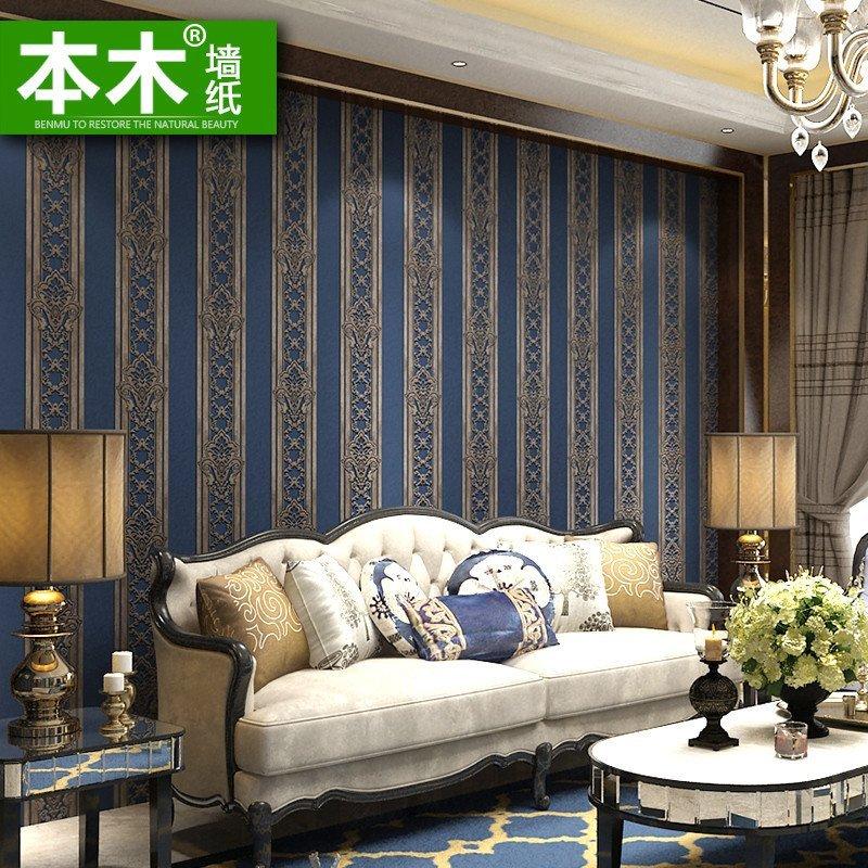 本木高档奢华简欧墙纸 电视背景墙壁纸卧室温馨 欧式复古铜色竖条