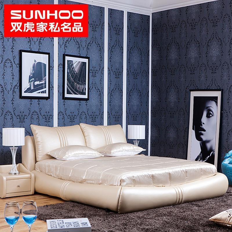 双虎家私 欧式软床 1.5/1.8米双人皮床 卧室家具组合rc5