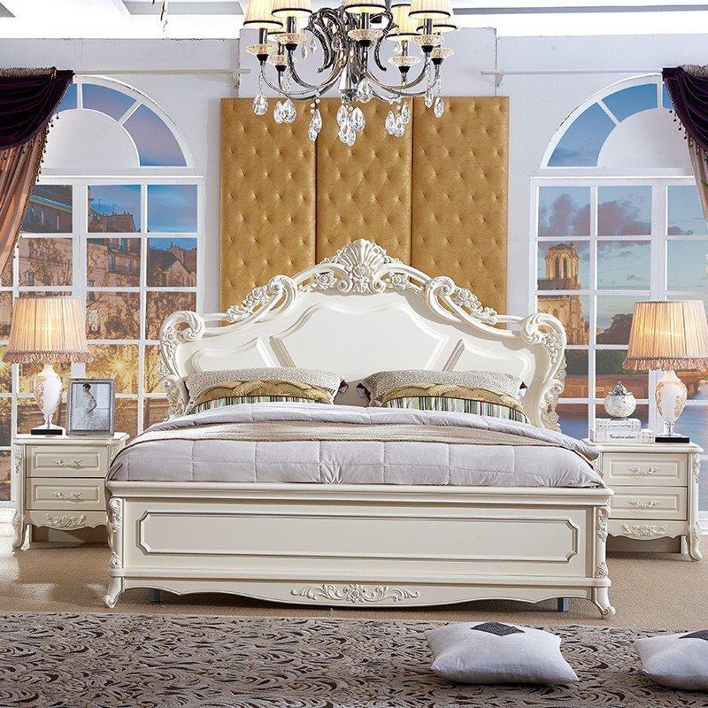 双虎家私 法式板式床 1.8米双人 大床 欧式卧室家具套装组合15f3