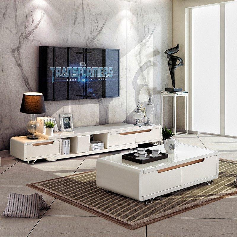 双虎家私 钢化玻璃茶几电视柜储物 简约现代客厅家具qx1