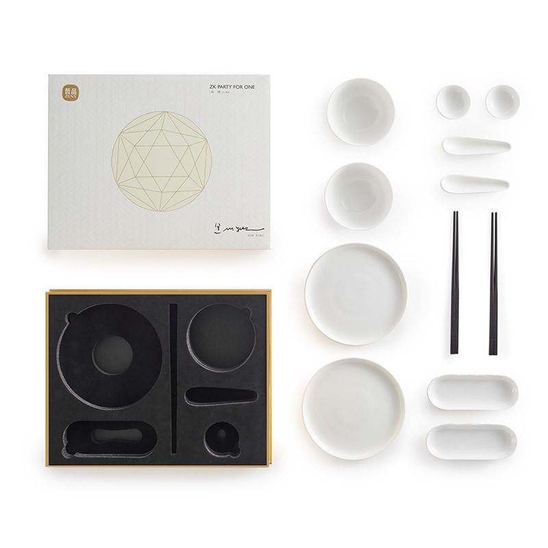 哲品陶瓷餐具套装福碗 家用饭碗汤碗菜盘调味酱碟子实木筷6件套组图片