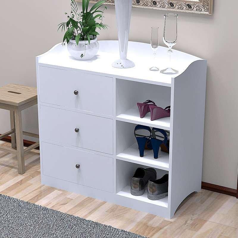 白色欧式现代简约 三层鞋柜木玄关柜 抽屉柜储物收纳箱柜 组合柜